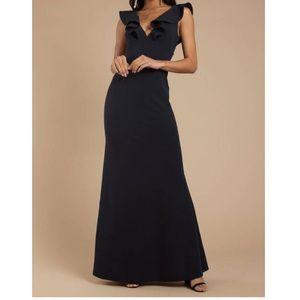 navy blue tobi prom dresss with ruffled neckline